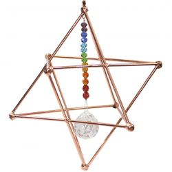 COPPER HANGING MERKABAH WITH CHAKRA SUN CATCHER