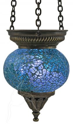 Turkish Mosaic Hanging Tealight - Small - Ocean Blue