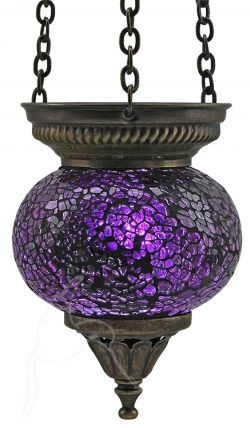 Turkish Mosaic Hanging Tealight - Medium - Purple