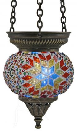 Turkish Beaded Mosaic Hanging Tealight - Small - Beaded White RBW