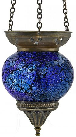 Turkish Mosaic Hanging Tealight - Medium - Blue