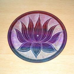 Lotus Carved Multi Colour Stone Incense Plate