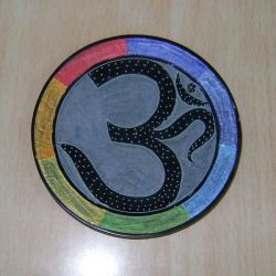 OM Carved Multi Coloured Carved Stone Incense Plate