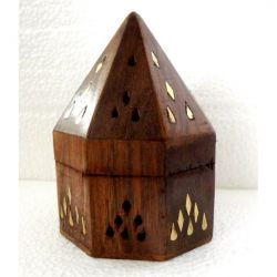 CONE HOLDER Wooden PYRAMID BOX With Brass Inlay 13CM