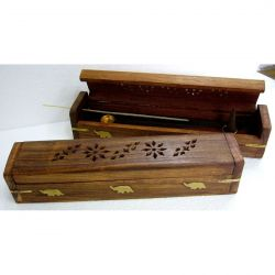 INCENSE HOLDER Wooden ROUNDED Lid Box 12 inch
