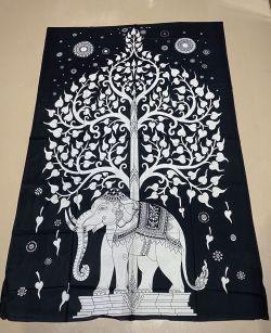 ELEPHANT TREE B/W COTTON TAPESTRY 137CM X 218 CM
