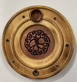 ROUND ASH CATCHER TREE OF LIFE COPPER INLAY