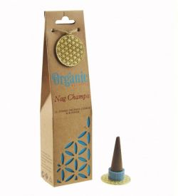 ORGANIC Goodness Incense Cones Nag Champa with Ceramic Holder
