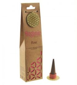 ORGANIC Goodness Incense Cones Rose with Ceramic Holder