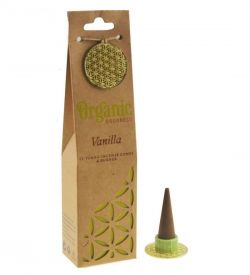 ORGANIC Goodness Incense Cones Vanilla with Ceramic Holder