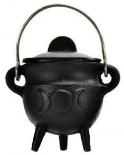 Cauldron  Black Cast Iron Triple Moon Small