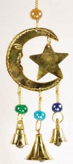 Brass Moon & Stars Wind Chime 13cm
