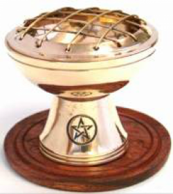 Incense Brass Charcoal Burner on Stand w Wooden Base PENTAGRAM