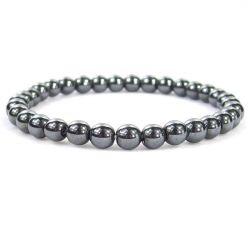 "HEMATITE 6MM Bead Bracelet, size 6.5"""