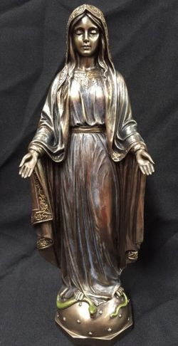 MARY OUR LADY OF GRACE Bronze Cold Cast Powder Coated Statue 29cm tall C-596