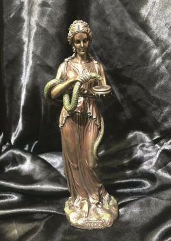 HYGIEIA Greek Goddess Of Health Bronze Cold Cast Coated Statue 27cm H