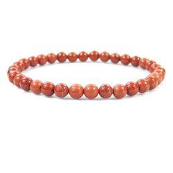 "RED JASPER 6MM Bead Bracelet, size 6.5"""