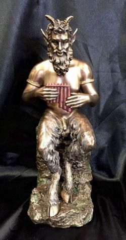 PAN Greek God Bronze Cold Cast Coated Statue 25cm Tall
