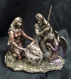 NATIVITY SCENE - MARY, JOSEPH, JESUS AND ANGEL Statue 23Cm Wide