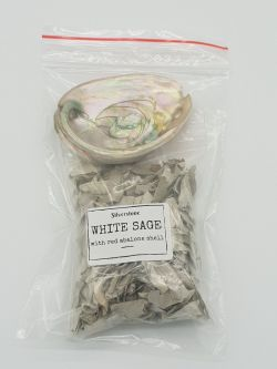 Smudge Bag WHITE SAGE & Abalone Shell Small
